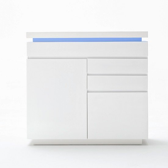 Odessa Small Sideboard 3 Drawer in High Gloss White With LED_2