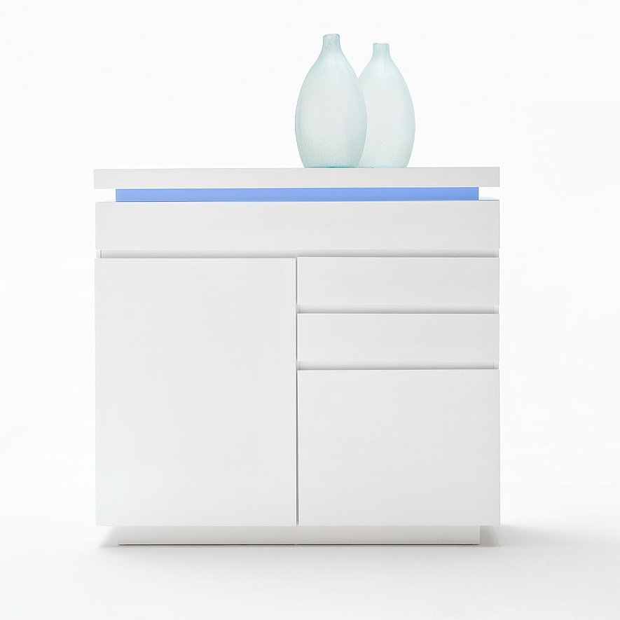 Odessa Small Sideboard 3 Drawer in High Gloss White With LED_3
