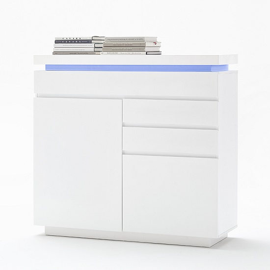 Odessa Small Sideboard 3 Drawer in High Gloss White With LED_6