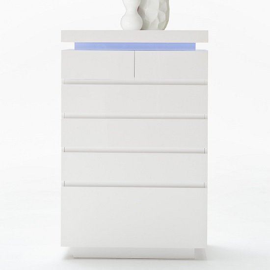 Odessa Sideboard Chest of Drawers in High Gloss White With LED_3