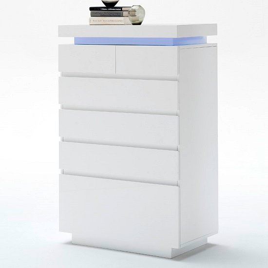 Odessa Sideboard Chest of Drawers in High Gloss White With LED_2