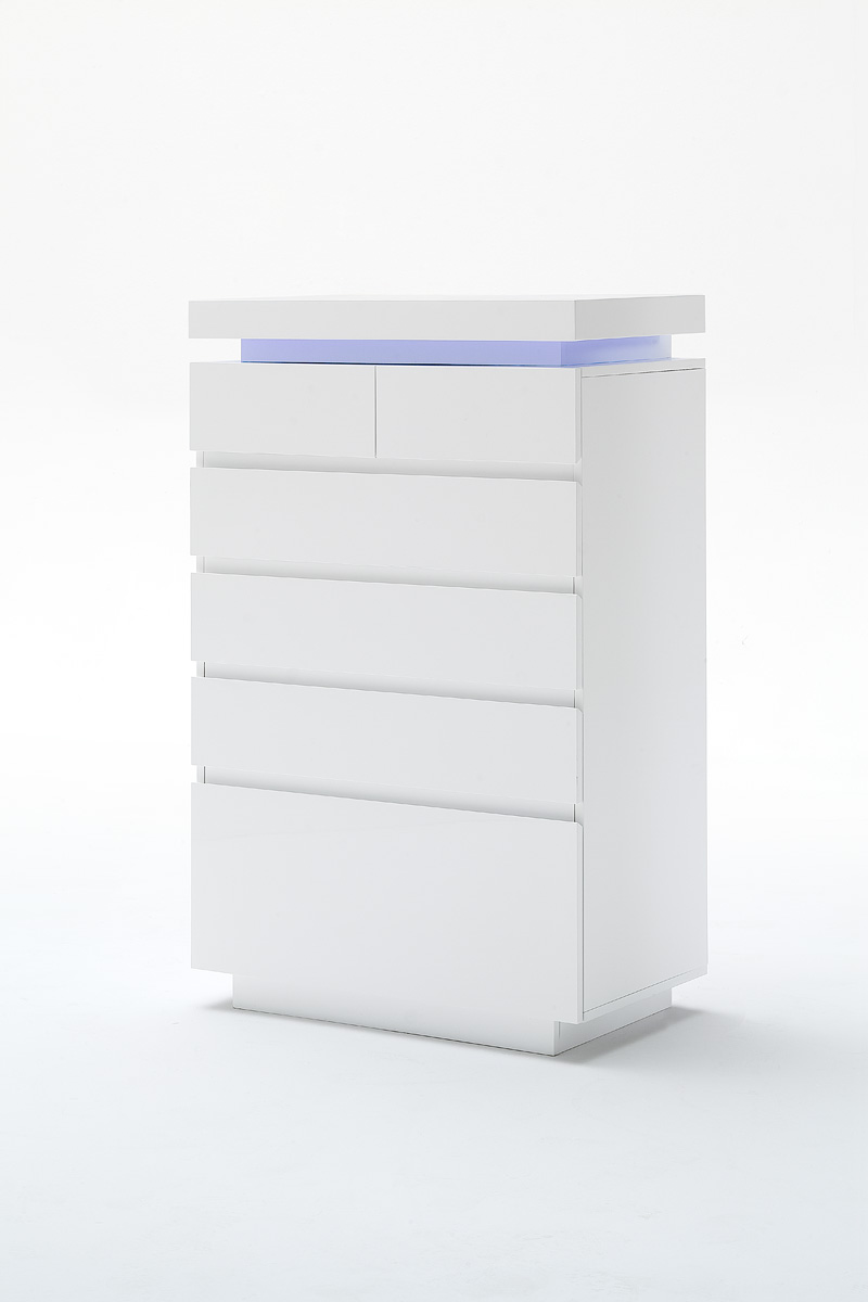 Odessa sideboard chest of drawers in high gloss white with for Sideboard 40 cm