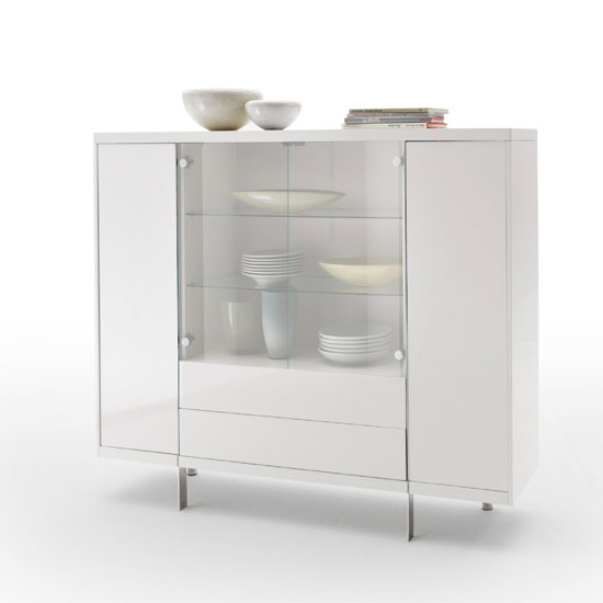 Brisbane White High Gloss Finish Sideboard With 2 Glass Door - Brisbane White High Gloss Finish Sideboard With 2 Glass
