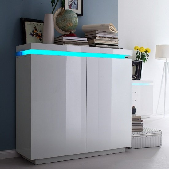 Odessa 2 Door Sideboard in High Gloss White With LED_1