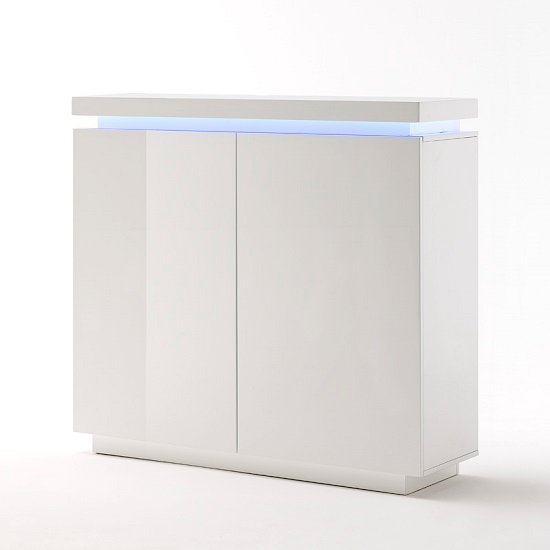 Odessa 2 Door Sideboard in High Gloss White With LED_2