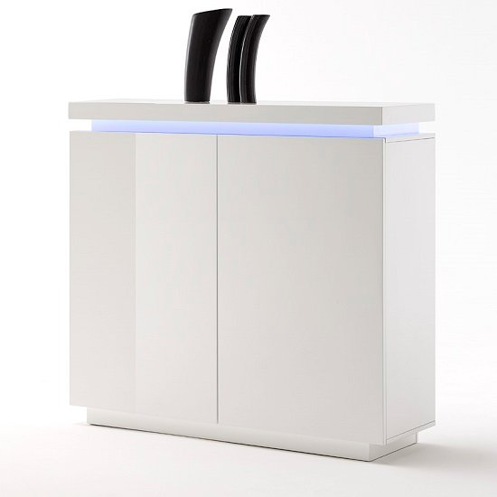 Odessa 2 Door Sideboard in High Gloss White With LED_4