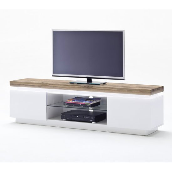 Romina Lowboard TV Stand In Knotty Oak And Matt White With LED