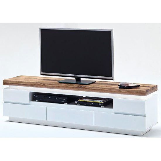 Romina Lcd Tv Stand In Knotty Oak And White Matt With Led