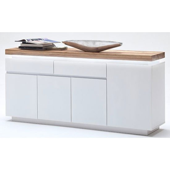 Romina 4 Door Sideboard In Knotty Oak And White Matt With LED