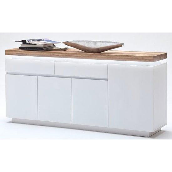 Knotty Oak Kitchen Cabinets: Romina 4 Door Sideboard In Knotty Oak And White Matt With