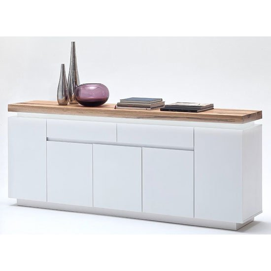 Romina 5 Door Sideboard In Knotty Oak And White Matt With LED