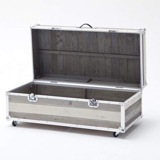 Camber Trunk Coffee Table In Grey With Aluminium Frame_4