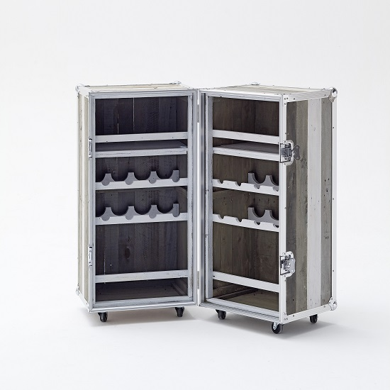 Camber Wooden Bar Cabinet In Grey With Aluminium Frame_2