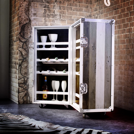 Camber Wooden Bar Cabinet In Grey With Aluminium Frame_3