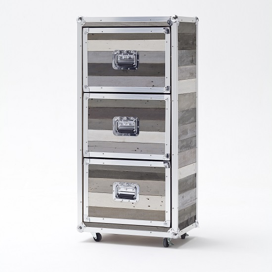 Camber Wooden Chest of Drawers Tall In Grey With Aluminium Frame