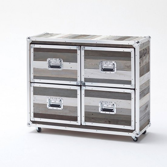 Camber Wooden Chest of Drawers Wide In Grey With Aluminium Frame