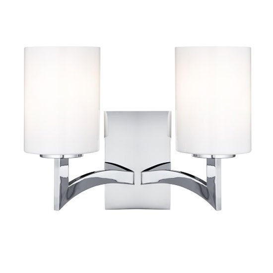Gina 2 Lamp Chrome Wall Light With Opal Glass Cylinder Shades
