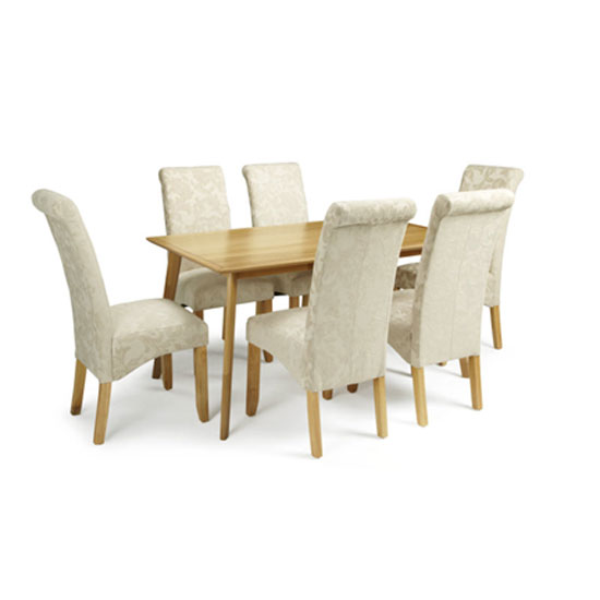 Ameera Dining Chair In Floral Cream Fabric And Oak in A Pair_5