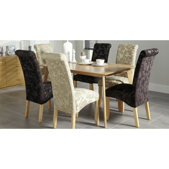 Ameera Dining Chair In Floral Sage Fabric And Oak in A Pair_9