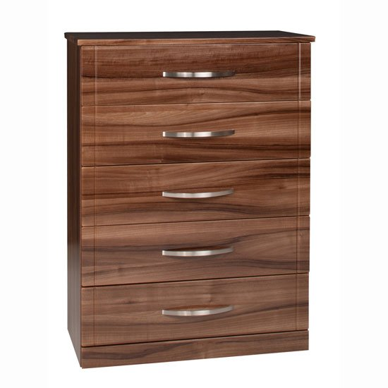 Torino 5 Drawer Chest in High Gloss Walnut