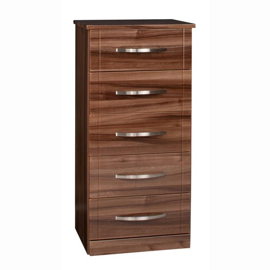 Torino 5 Drawer Narrow Chest in High Gloss Walnut : 5 Drwr Narrow Chest walnt from furniturecompare.uk size 550 x 550 jpeg 25kB