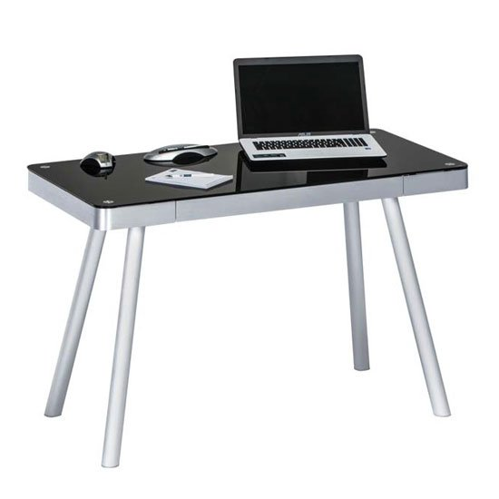 Futura Computer Desk In Black Glass Top With Metal Legs