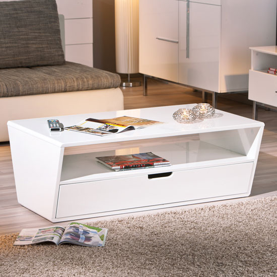 Modern Oval White High Gloss Glossy Lacquer Coffee Table: Jesper Modern Coffee Table In White High Gloss With 1