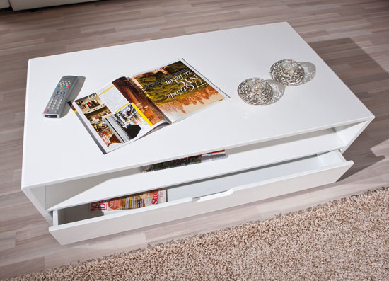 Jesper Modern Coffee Table In White High Gloss With 1 Drawer
