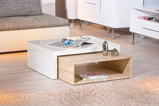 Elko extendable storage coffee table in white gloss and oak - Table basse blanc bois ...