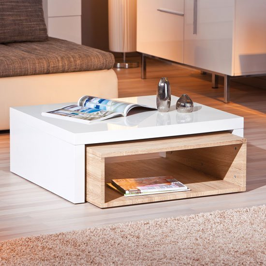 Elko extendable storage coffee table in white gloss and oak for Table basse vitree