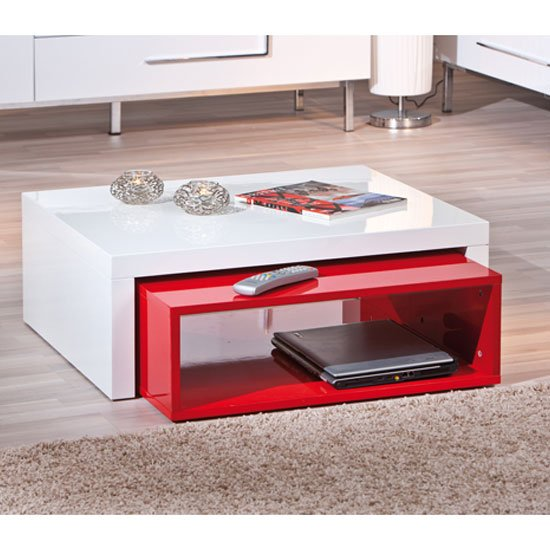 Elko Extendable Storage Coffee Table In White And Red Gloss