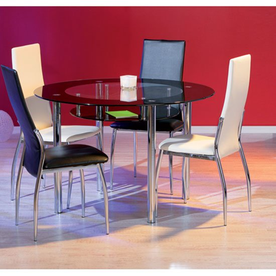 Glass dining table and 4 chairs furniture in fashion for Furniture in fashion