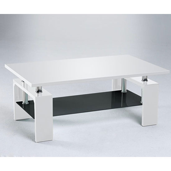 Tim Clear Glass Coffee Table With High Gloss White Base: High Gloss Coffee Tables, Black, White, Furnitureinfashion UK