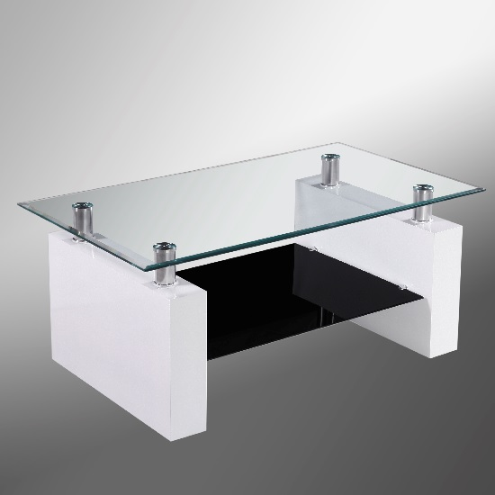 Melio Glass Coffee Table In White Gloss And Undershelf in Black