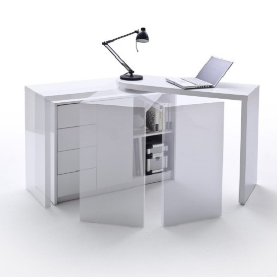Matt Swivelling Computer Desk in High Gloss White_2