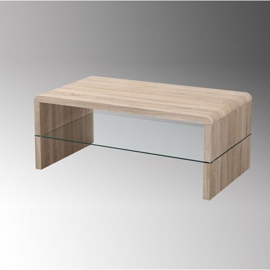Carmen Light Oak White Coffee Table With Glass Shelf 20298