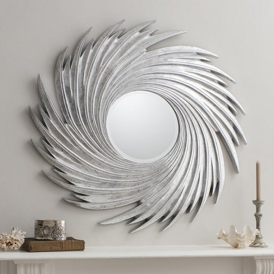 Ealham Whirlwind Wall Mirror In High Gloss Silver