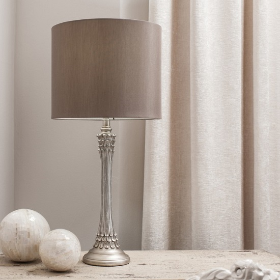 Ember Table Lamp With Antique Silver Finish Base