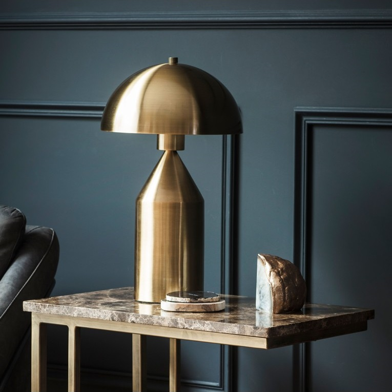 Braze Table Lamp In Polished Metallic Gold Finish