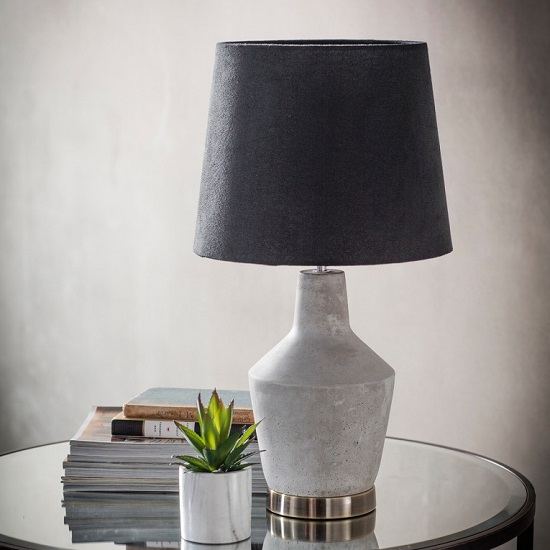 Kevel Table Lamp In Matte Black Shade With Stone Finish Base