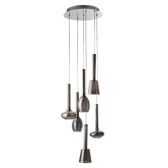 vibrant 6 lamp chrome multi drop ceiling pendant. Black Bedroom Furniture Sets. Home Design Ideas