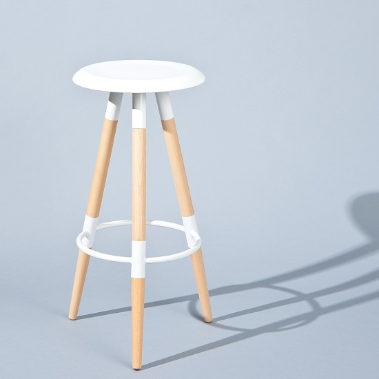 Coorg Bar Stool Round In White With Solid Beech Legs