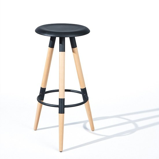 Coorg Round Bar Stool In Black With Solid Beech Legs