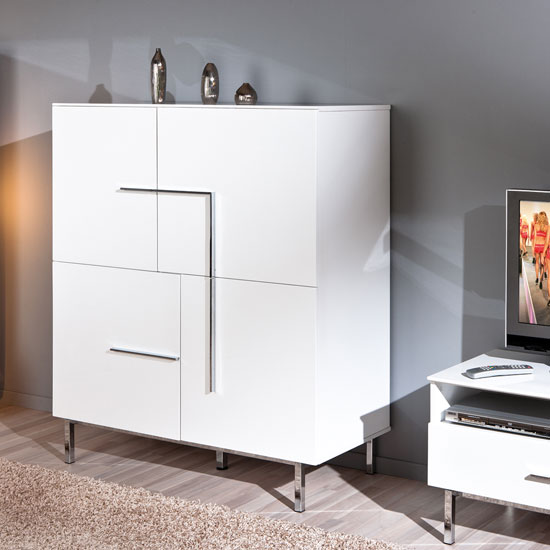 Letino I Sideboard In White High Gloss With 4 Doors