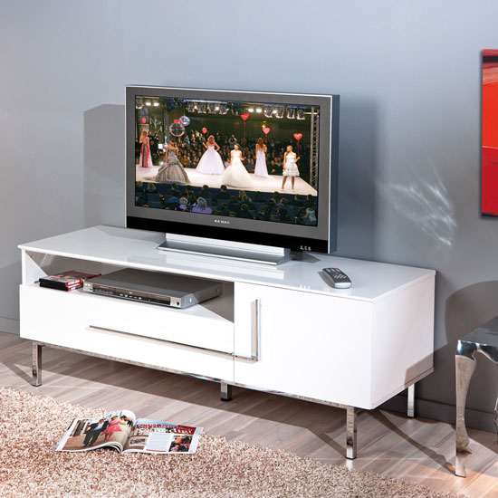 Letino III TV Stand In White High Gloss With 1 Door And 1 Drawer