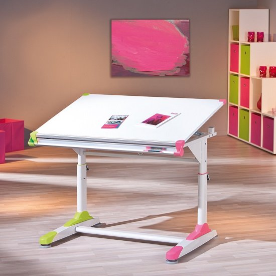 Dexter Children Computer Desk In White With Pink And Green Alter