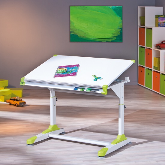 Dexter Children Computer Desk In White With Pink And Green Alter_8
