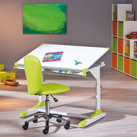 Dexter Children Computer Desk In White With Pink And Green Alter_15