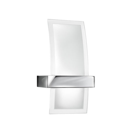Chrome 1 Lamp Wall Light With Curved Clear and Frosted Glass