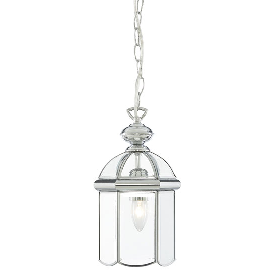 Moroccan Chrome Finish Lantern Pendant With Bevelled Glasses